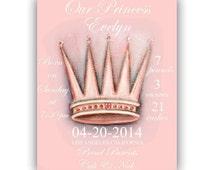 Baby Girl Princess Birth announcement, Birth Stats Art Print, Peach Crown, Princess Nursery, Kids Nursery Wall Art, Princess Baby Nursery