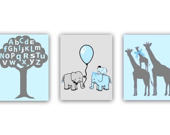Nursery Prints, Alphabet, Tree, Nursery Wall Art, Elephant, Giraffe, Nursery decor, Animals Nursery, Kids Decor, Kids Wall Art, Nursery Art