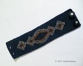 Crochet cuff bracelet handmade with beads on cotton base | costume jewelry | womans accessories | bead bracelet