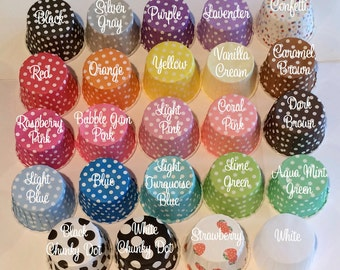 Candy Cups Baking cupcake grease proof liners Ice cream dessert nut cup standard size polka dots and stripes - 100 count - YOU PICK COLORS