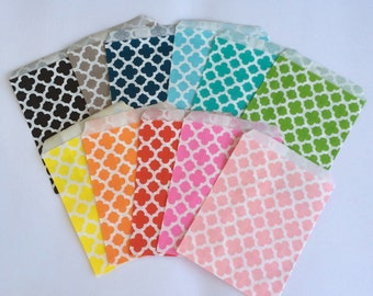 Quatrefoil Party Favor Bags 5x7 Paper Treat Bags Candy Buffet Favor Wedding baby shower Favor  Goodie Bags Popcorn bags Bakery Bags 20 count