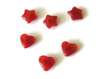 Rare earth magnets - fused glass mini stars and hearts -  set of 6