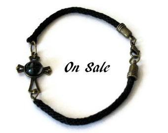 Celtic cross bracelet - kumihimo braid - XL - On Sale