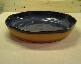 """Stoneware pie plate 10"""" in midnight blue"""