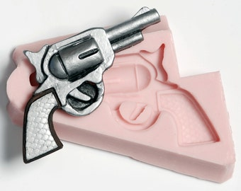 Silicone Mold - Pistol Mold - Six shooter mold - Fondant Mold - Sugarcraft Mold - Candy Mold - Chocolate Mold - Western Gun Mold (928)