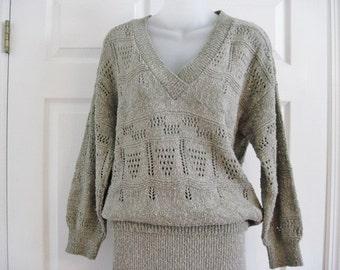 Vintage Knit Dress, Shapely Knits,  2 piece Dress, 1980's