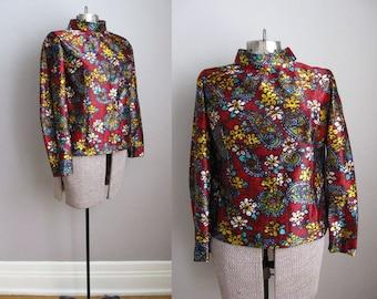 1960s Blouse Paisley Crimson Hearts Flowers Psychedelic / Medium