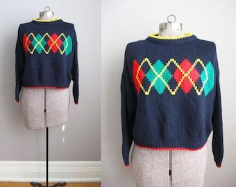 1980s Argyle Cropped Sweater Navy Blue Oversized Slouchy / Large