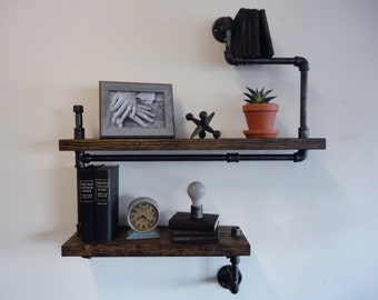 "Industrial Black Pipe Two Tier Shelf the ""Wiggins"""
