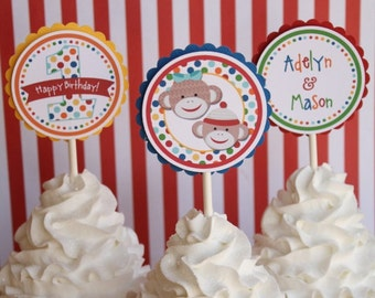 Multicolor Sock Monkey Cupcake Toppers - Set of 12
