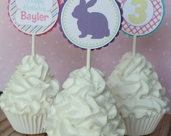 Bunny Cupcake Toppers - Set of 12
