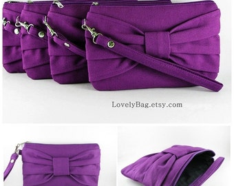 SUPER SALE - Set of 6 Eggplant Purple Bow Clutch - Bridal Clutches, Bridesmaid Clutch, Bridesmaid Wristlet, Wedding Gift - Made To Order