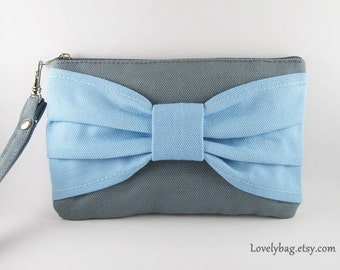 SUPER SALE - Gray with Light Blue Bow Clutch - iPhone 5 Wallet, iPhone Wristlet, Cell Phone Wristlet, Cosmetic Bag, Camera Bag, Zipper Pouch