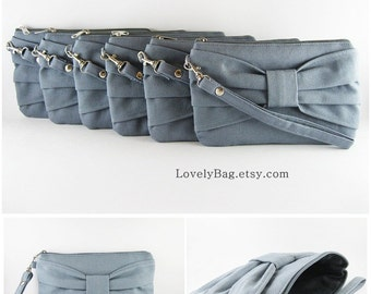 Set of 4 Gray Bridesmaid Clutches - Made To Order