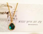 bridesmaid gift,emerald green  jewelry,gold emerald  necklace,bridal jewelry,bridesmaid jewelry set,emerald green neckl