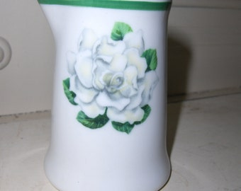Pair Vintage Restaurant China Green Stripe & Magnolia Blossom Individual Creamer or Syrup