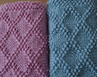 Items similar to Baby Blanket, knitted, Aqua, Diamond ...
