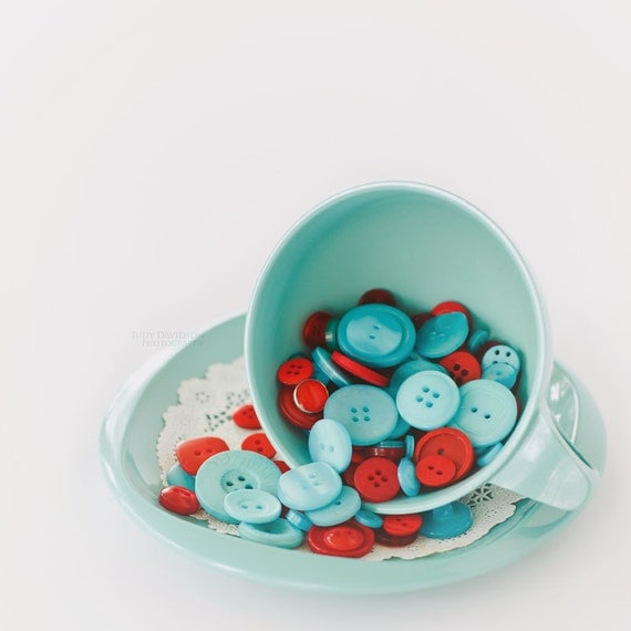Vintage buttons and tea cup