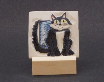 Black and White Cat Hand Made Tile