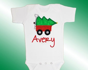 Christmas Baby Shirt Bodysuit - Personalized Applique - Christmas Tree Wagon - Embroidered Short or Long Sleeved