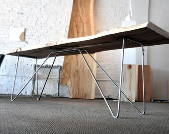 Frejm Console Table - Live Edge Maple Slab - Folded Steel Metal Legs - Live-Edge Tree - Industrial Chic Furniture - West Coast Design