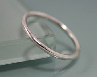 Sterling Silver 1.6mm  Round Simple Stacking Band Ring  Shiny Finish Eco Friendly Recycled Silver