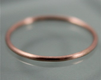 Rose Gold Ring 14k SOLID Thin 1mm Skinny Stacking Band Ring Brushed Satin Matte Finish Eco-Friendly Recycled Gold