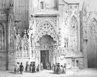 GERMANY Cologne St. Sebald Curch Fiancee Porch - 1838 SUPERB Litho Antique Print
