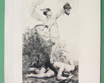 ORIGINAL ETCHING 1888 artist Popelin: Mythology Slayer of Argus God Mercury Holding His Head