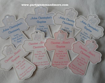 Unique Personalized Cross Baby Christening, Baptism, Birthday Party Favor Gift Tags