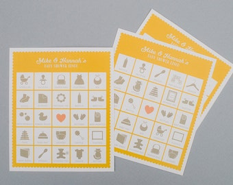Baby shower bingo. Custom baby girl or boy card. Set of 20 unique cards.