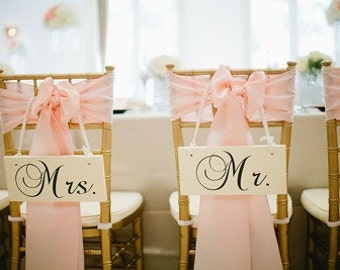 Wedding Signs, MR. AND MRS. Chair Signs, Wedding Photo Props, Double sided, Bride and Groom