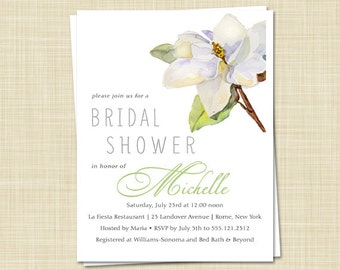 20 Bridal Shower Invitations - Southern Magnolia - Vintage - Botanical - Watercolor / PRINTED