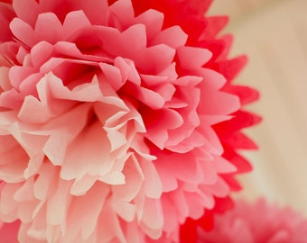 PINK OMBRE Tissue Paper Pom Pom / Baby Shower Decoration / Nursery Mobile / Hanging Party Pom