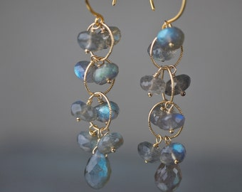 Blue Labradorite Earring with Briolette and Rondelles, Dangle Earrings on Gold Vermeil Earwire, Style Number 676