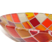 Clearly Warm Squares Fused Glass Bowl in Autumn Colors FB105