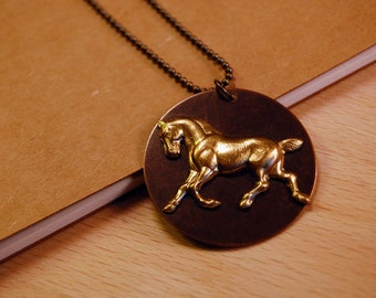 Dressage Horse Brass Metal Pendant - Jewelry for Horse Lovers