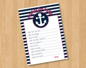 INSTANT DOWNLOAD - Pink & Navy Nautical Wishes for Baby - Printable Baby Shower Game