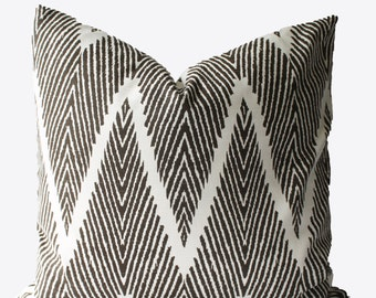 Decorative Designer Chevron Brown Pillow Cover, 18x18, 20x20, 22x22 or Lumbar, Throw Pillow