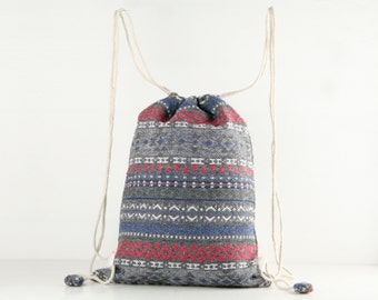 Winter Tribal Navajo Drawstring Backpack/ Flannel bag, Lunch bag, Library Bag Woven Textiles