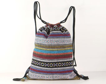 Multi-color Tribal Drawstring backpack/ knapsack Library Bag, Daycare Bag, Beach Bag, Hipster Bike Bag