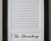 SALE Wedding Vow Art/ Custom Last Name Art: Framed Wedding Vows and Last Name