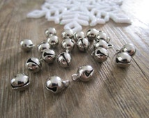 Small silver jingle bells - 20 small silver bells, jingle bells, silver bell beads, ding-a-ling holiday bells, bells for jewelry, decoration
