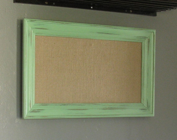 distressed mint wood frame cork board 12 x 24. Black Bedroom Furniture Sets. Home Design Ideas