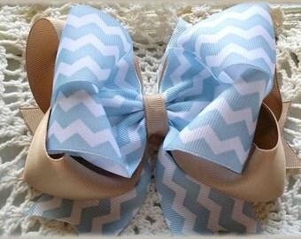 Uniform Hair Bow....Blue and Tan Uniform Bow....Light blue chevron Hair bow....Chevron Uniform Hair Bow...Uniform Bow...