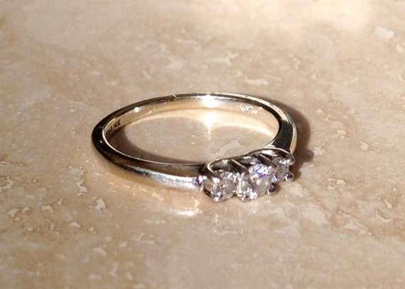Reserved for Renay...High Quality Platinum and 14K Magic Glo 3 Stone Diamond Band Weighing 2.6 grams and Size 6.25