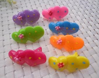 SALE--50 pcs-- Mixed Colors Lovely Heart Plastic Hair Clip
