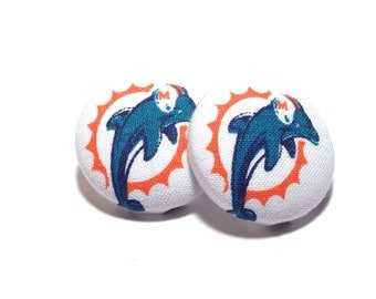 Medium Miami Dolphins Print Button Earrings