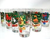 Vintage Brockway   Box Set of 12 Days of Christmas Decorated Glassware, Christmas Glasses