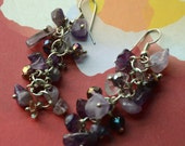 A Set of Amethyst and Beads Dangling Earrings
